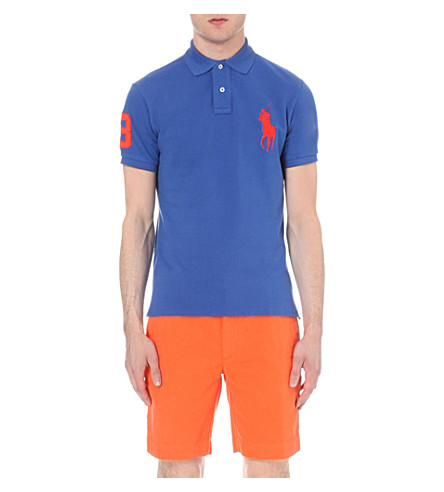 POLO RALPH LAUREN Slim-fit cotton-piqué polo shirt (Blue