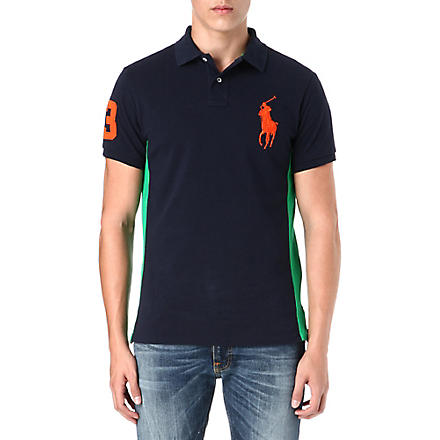 RALPH LAUREN Custom-fit big pony polo shirt (Aviator+navy