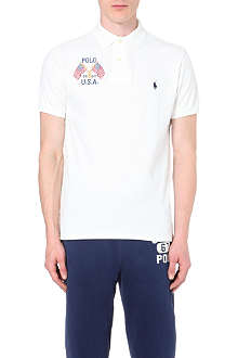 RALPH LAUREN Logo-embroidered custom-fit cotton polo shirt