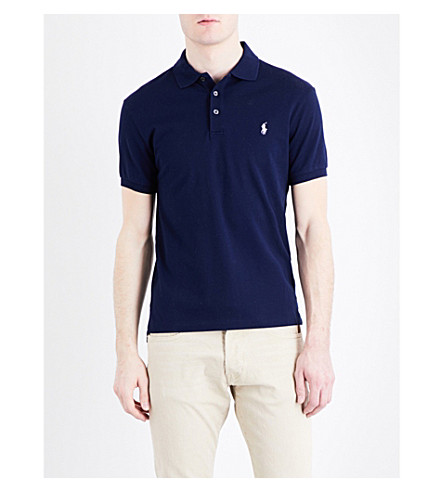 POLO RALPH LAUREN Slim-fit stretch cotton-mesh polo shirt (French+navy