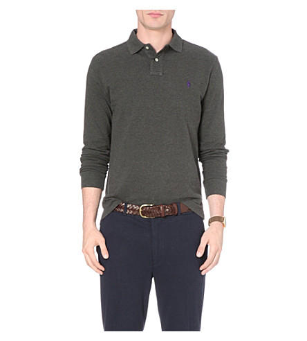 POLO RALPH LAUREN Custom-fit cotton-piqué polo shirt (Bristol+heather
