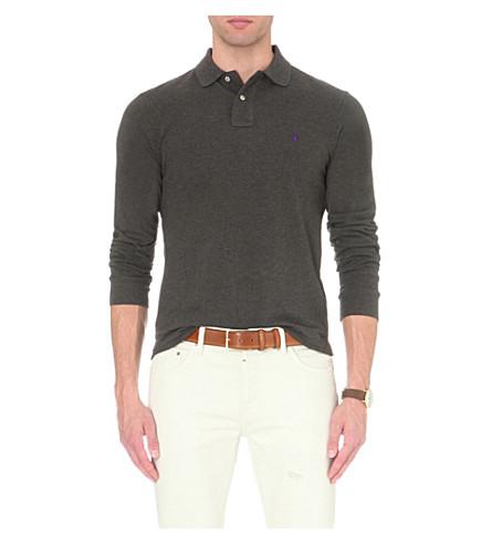 POLO RALPH LAUREN Slim-fit cotton-piqué polo shirt (Bristol+heather