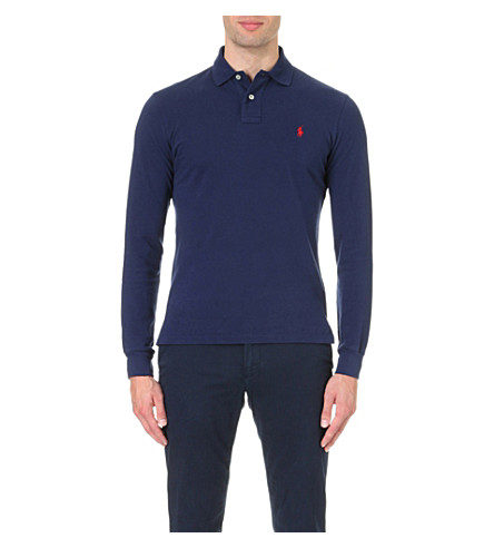 POLO RALPH LAUREN Custom-fit long-sleeved cotton-mesh polo shirt (Newport+navy