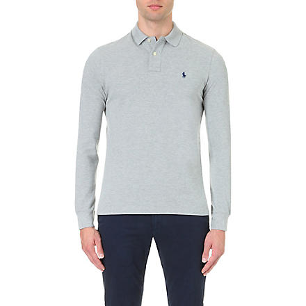 RALPH LAUREN Custom–fit piqué polo shirt (Andover+hthr