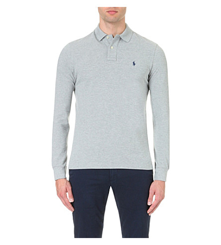 POLO RALPH LAUREN Custom-fit cotton-mesh polo shirt (Andover+hthr