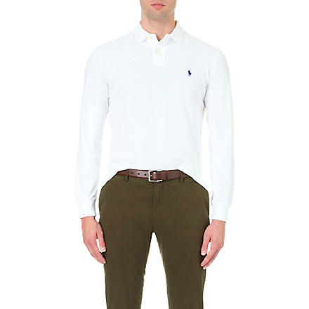 RALPH LAUREN Custom–fit piqué polo shirt (White