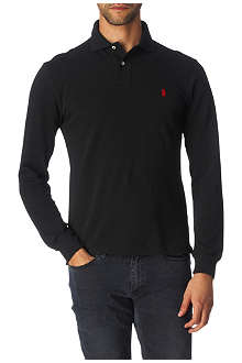 RALPH LAUREN Long–sleeved slim-fit mesh polo shirt