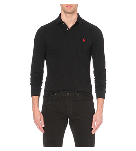 POLO RALPH LAUREN Slim-fit cotton-mesh polo shirt (Black