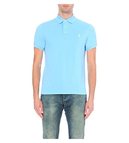 POLO RALPH LAUREN Custom–fit mesh polo shirt (Chatham+blue