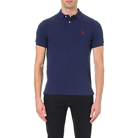 RALPH LAUREN Custom–fit mesh polo shirt (Newport  navy