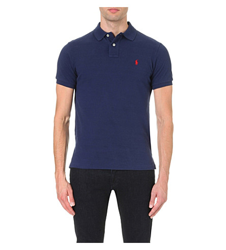 RALPH LAUREN Custom–fit mesh polo shirt (Newport  navy