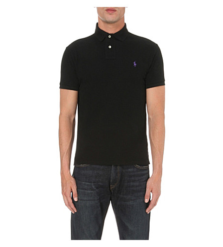 POLO RALPH LAUREN Custom-fit cotton-mesh polo shirt (Polo+black