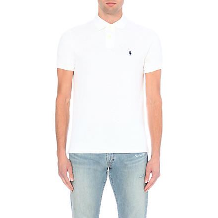 RALPH LAUREN Custom–fit mesh polo shirt (White