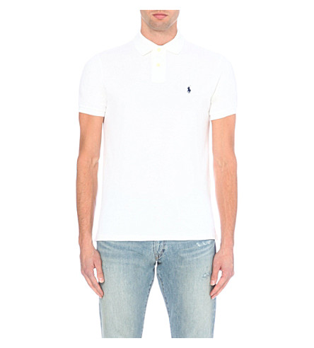 POLO RALPH LAUREN Custom–fit mesh polo shirt (White