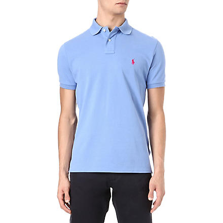 RALPH LAUREN Custom–fit mesh polo shirt (Blue+mist