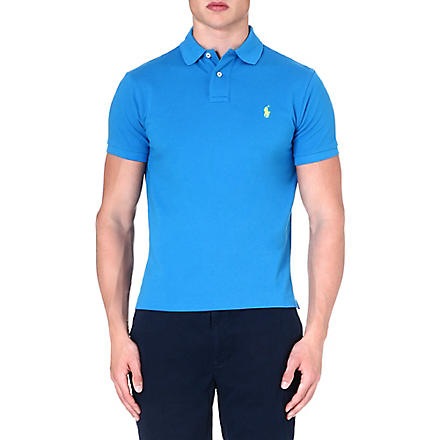 RALPH LAUREN Custom–fit mesh polo shirt (Blue+universe