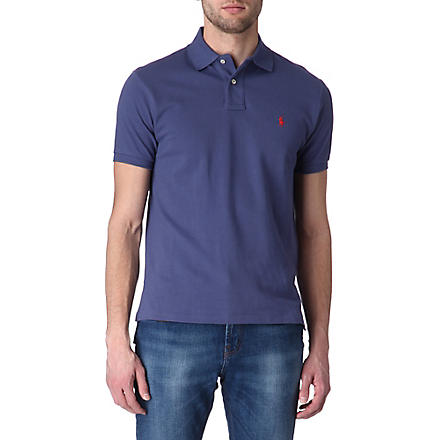 RALPH LAUREN Custom–fit mesh polo shirt (Cl+blue