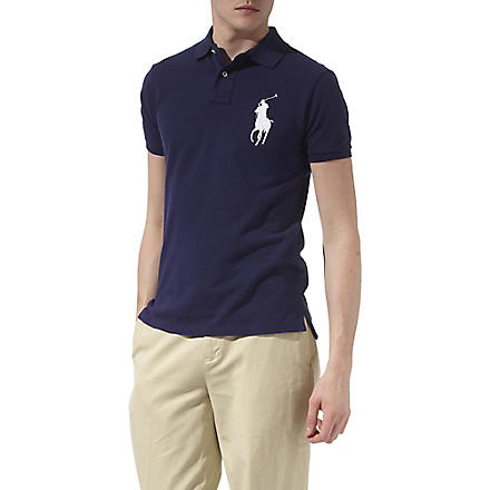 RALPH LAUREN Slim–fit big pony polo shirt (New+ny/wht+pp
