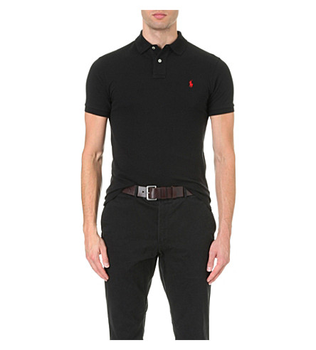 POLO RALPH LAUREN Slim-fit cotton polo shirt (Polo+black