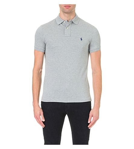 POLO RALPH LAUREN Slim–fit mesh polo shirt (Andover+heather+grey