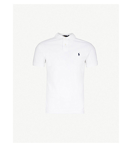 POLO RALPH LAUREN Slim–fit mesh polo shirt (White