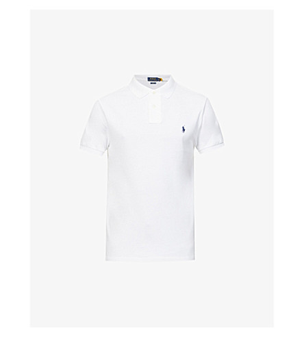 RALPH LAUREN Slim–fit mesh polo shirt (White