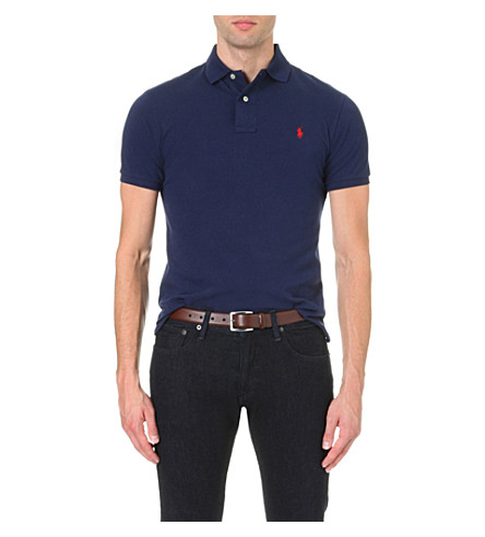 POLO RALPH LAUREN Slim–fit mesh polo shirt (Newport+navy