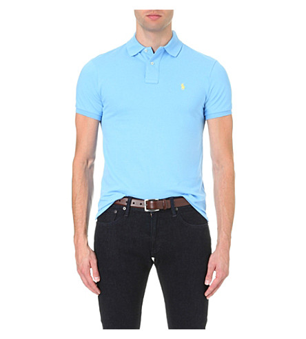 POLO RALPH LAUREN Slim-fit cotton-mesh polo shirt (Chatham+blue