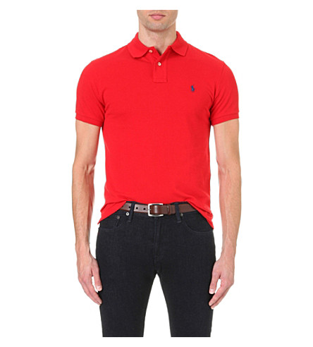 POLO RALPH LAUREN Slim–fit mesh polo shirt (Rl2000+red