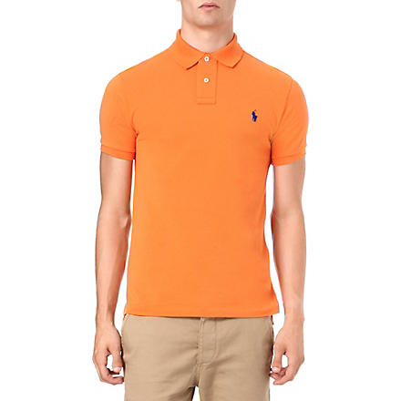 RALPH LAUREN Slim-fit mesh polo shirt (Bali+orange