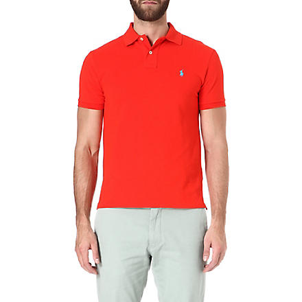RALPH LAUREN Slim-fit mesh polo shirt (Bright+poppy