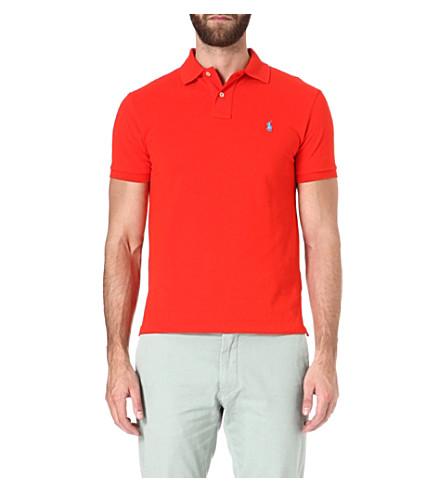 RALPH LAUREN Slim-fit cotton-piqué polo shirt (Bright+poppy