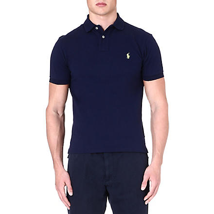 RALPH LAUREN Slim-fit mesh polo shirt (French+navy+1