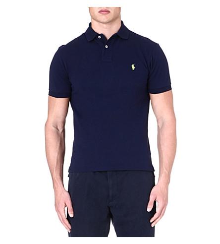 RALPH LAUREN Slim-fit mesh polo shirt (French+navy+1