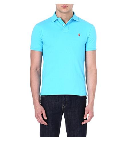 POLO RALPH LAUREN Slim-fit cotton-piqué polo shirt (Liquid+blue