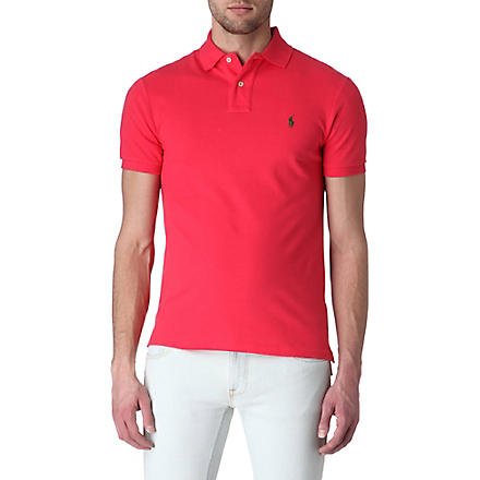 RALPH LAUREN Slim-fit mesh polo shirt (Spice+berry