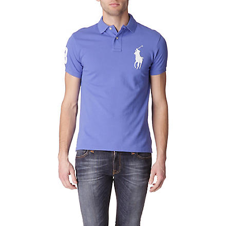 RALPH LAUREN Custom–fit polo shirt (Baldwin+blue/wh
