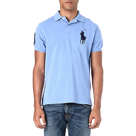 RALPH LAUREN Custom–fit polo shirt (Blue+mist