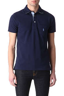RALPH LAUREN Custom-fit striped-trim polo shirt