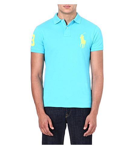 RALPH LAUREN Slim-fit cotton polo shirt (Liquid blue/neo