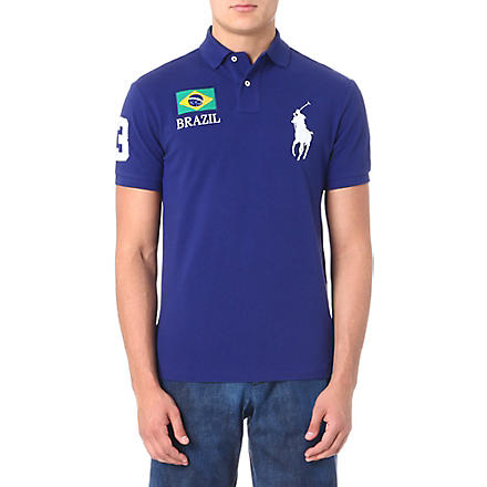RALPH LAUREN Custom-fit flag polo shirt (Boston royal- b