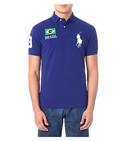 RALPH LAUREN Custom-fit flag polo shirt (Boston royal- b