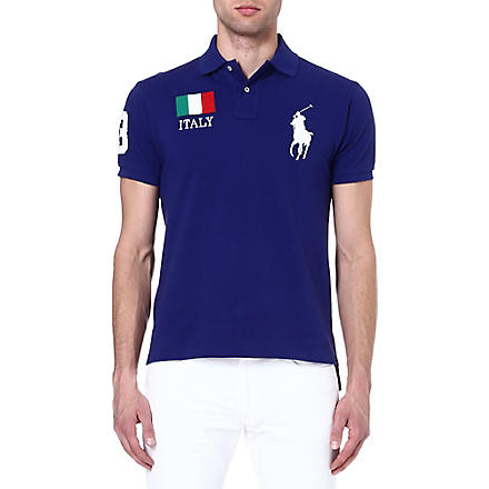 RALPH LAUREN Custom-fit flag polo shirt (Boston royal- i