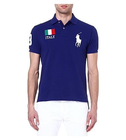 RALPH LAUREN Custom-fit flag polo shirt (Boston royal- i