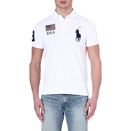 RALPH LAUREN Custom-fit flag polo shirt (White- usa