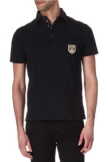 RALPH LAUREN Woven-collar crest polo shirt