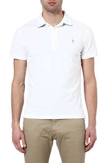 RALPH LAUREN Custom-fit gingham-trim polo shirt