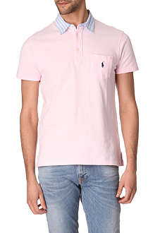 RALPH LAUREN Custom–fit striped-collar polo shirt