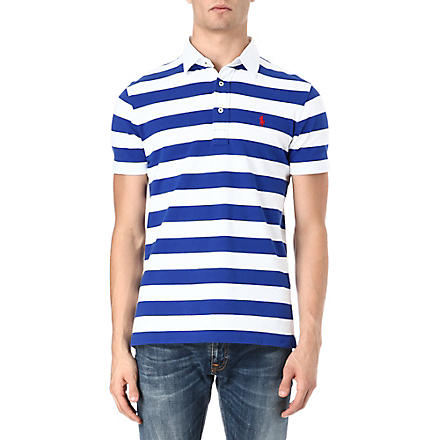 RALPH LAUREN Custom-fit striped polo shirt (Deep royal/clas