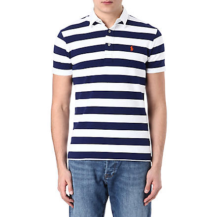 RALPH LAUREN Custom-fit striped polo shirt (Soho blue/class
